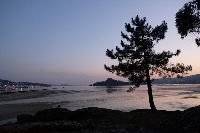 Puesta de sol en la playa de Lourido