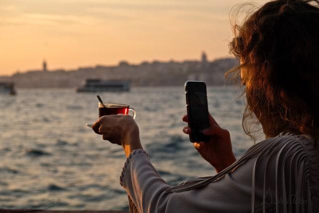 Estambul moderno bosforo puesta de sol