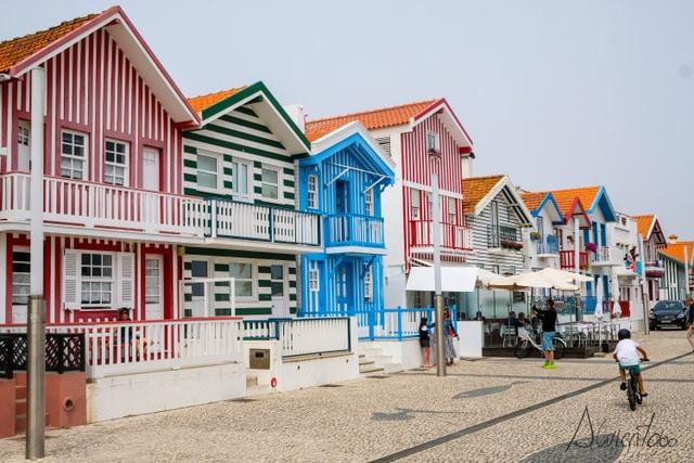 casas de colores de Costa Nova en Aveiro