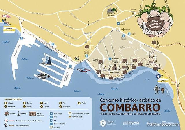 Mapa de Combarro con sitios donde aparcar en Combarro