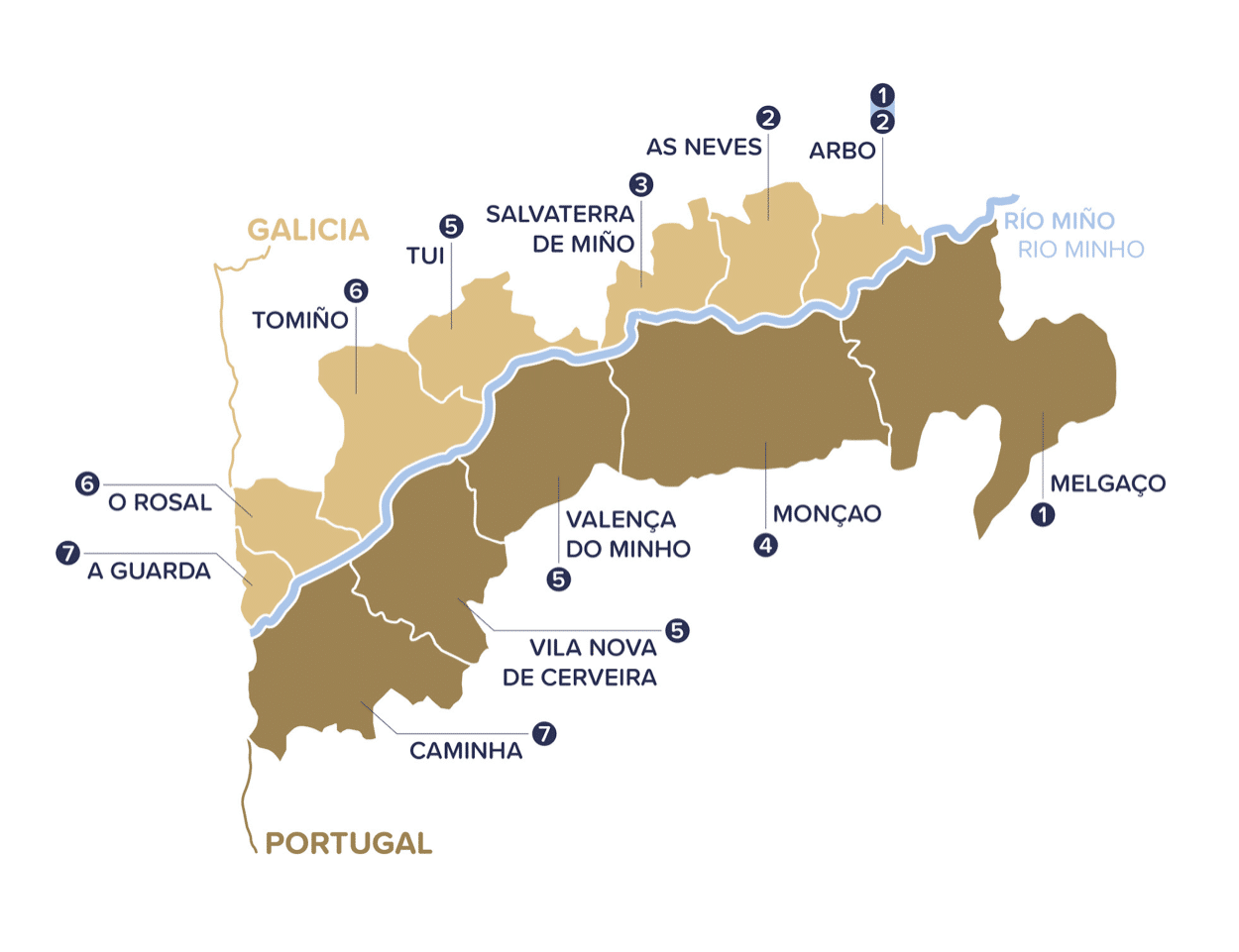mapa concellos rio minho
